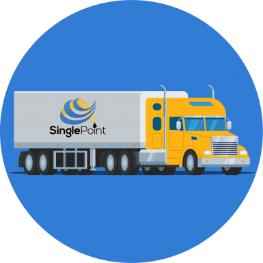 Yellow Semi Truck With Single Point Logo